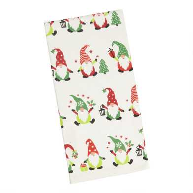 Ivory, Red And Green Holiday Gnome Kitchen Towel