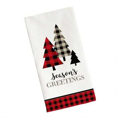 Season's Greetings Plaid Tree Kitchen Towel