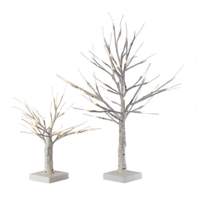 White Birch Micro LED Battery Operated Tree Decor