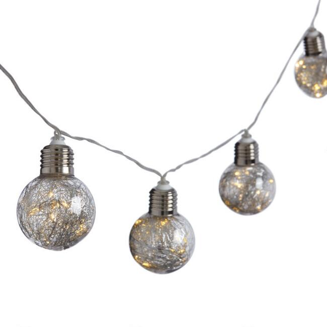 Silver Tinsel LED 10 Bulb Battery Operated String Lights
