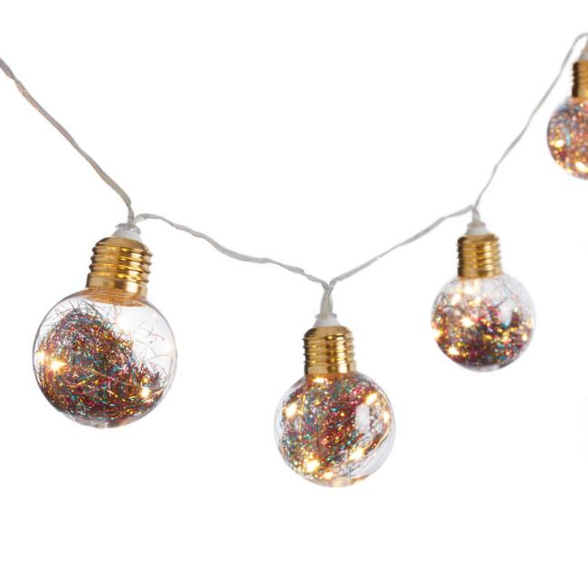Multicolor Tinsel LED 10 Bulb Battery Operated String Lights