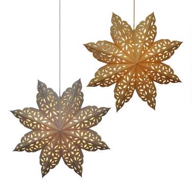 Gold and Silver Glitter Paper Snowflake Lanterns Set of 2