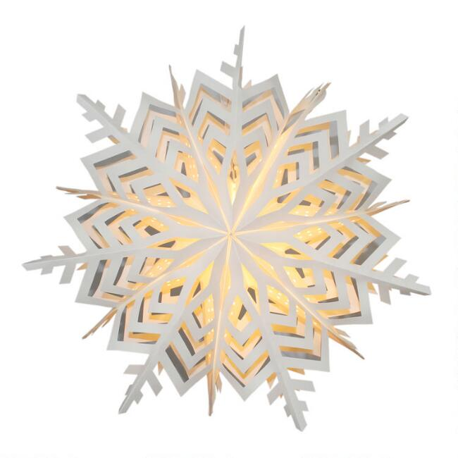 White Two Layer 3D Snowflake Collapsible Paper Lantern