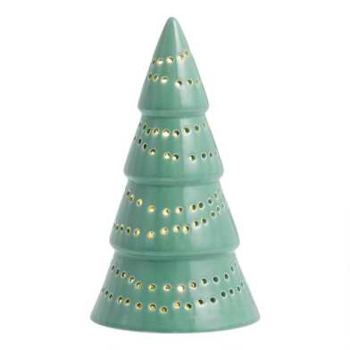 Light Green Pierced Ceramic Tree Light Up Decor