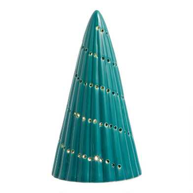 Spruce Green Pierced Ceramic Tree Light Up Decor