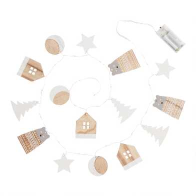 Scandi Icon Wood Micro LED Battery Operated String Lights