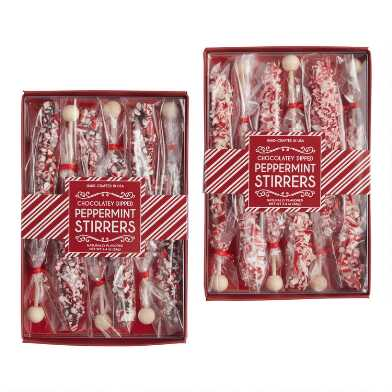 6 Pack Chocolate Dipped Candy Stirrers Set of 2