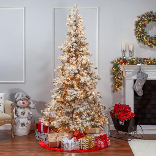 Full Pre Lit Heavy Flocked Layered Artificial Spruce Tree