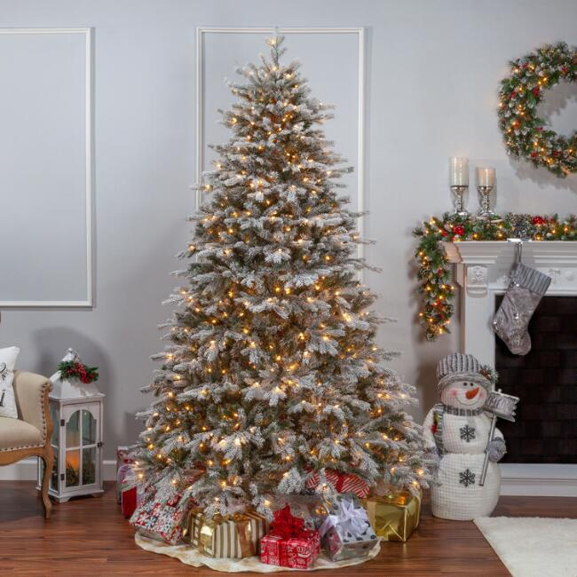 Full Pre Lit Flocked Artificial Natural Cut Spruce Tree