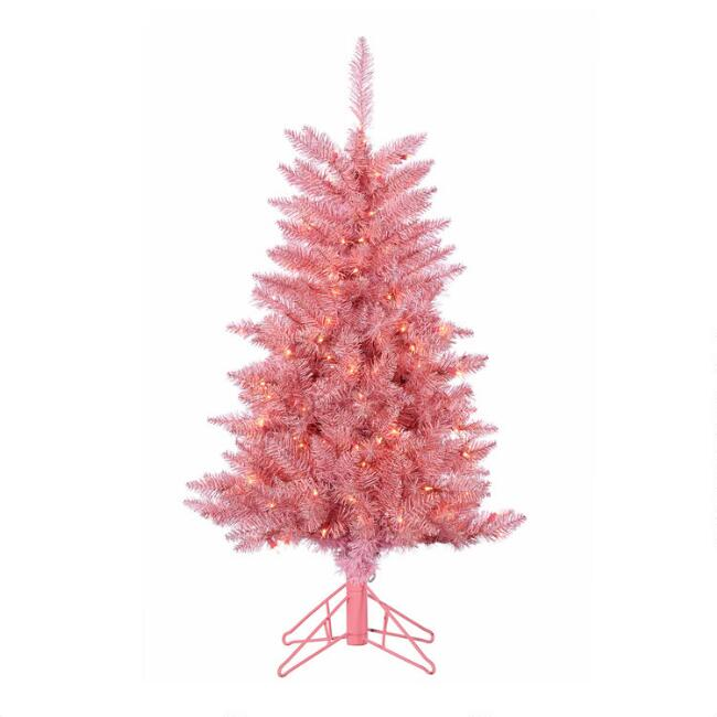 Full Pink Tinsel Pre Lit Artificial Tuscany Tree