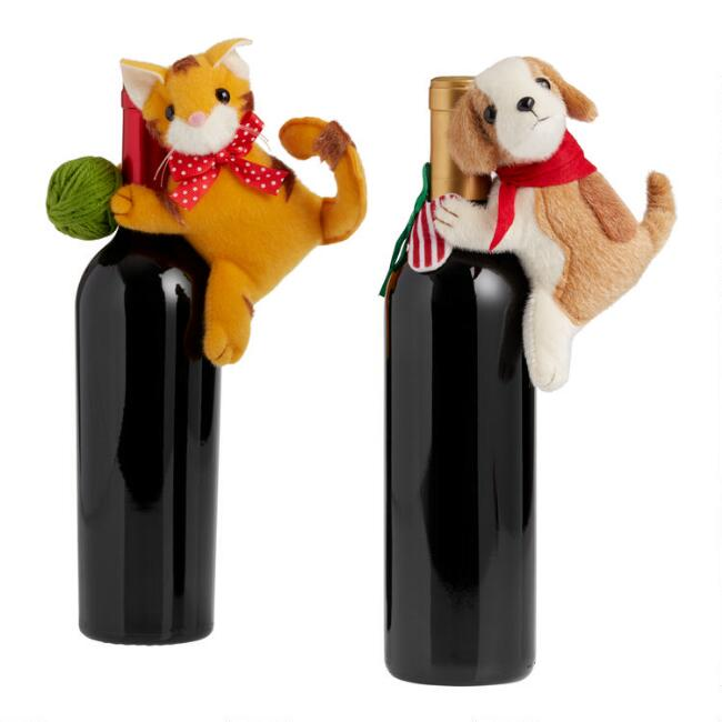 Cat And Dog Holiday Bottle Toppers Set of 2