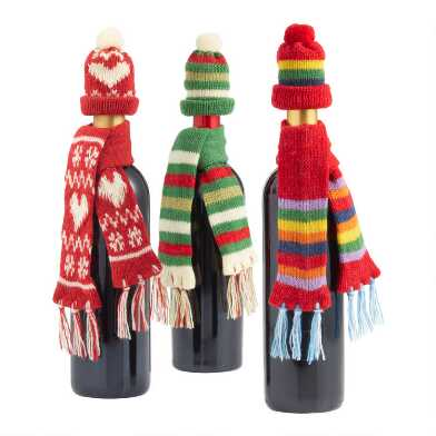 Winter Hat And Scarf Bottle Outfits Set of 3
