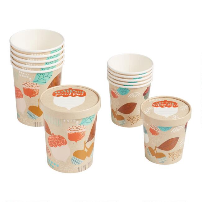 Thanksgiving Paper Take Away Cups with Lids 6 Pack