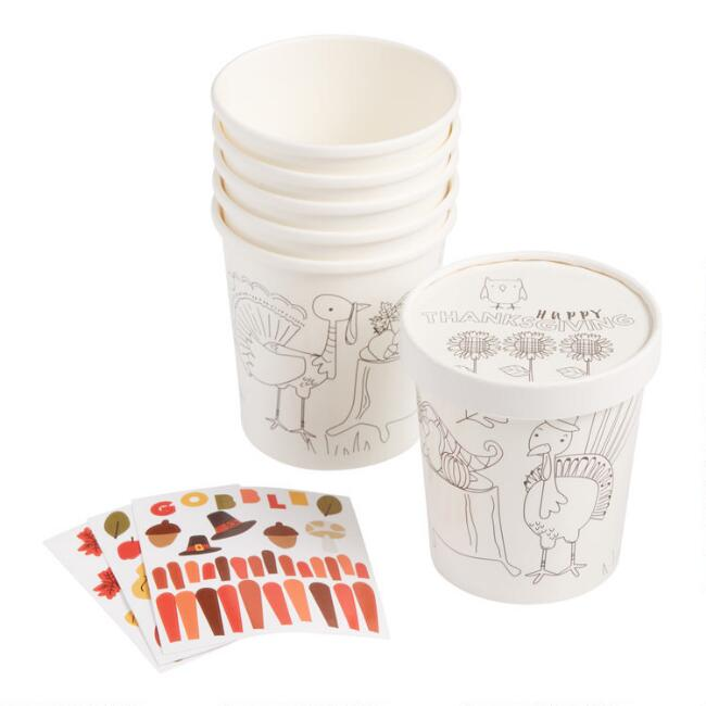 Kids Thanksgiving Paper Take Away Cups with Stickers 6 Pack