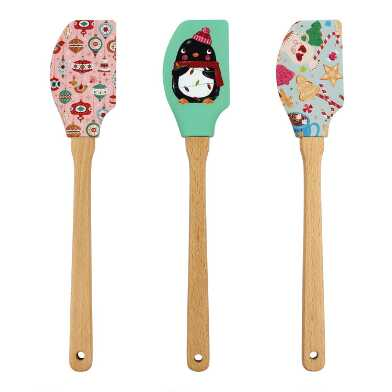 Holiday Silicone and Wood Spatulas Set of 3