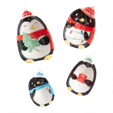 Holiday Penguin Ceramic Nesting Measuring Cups