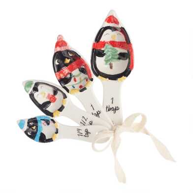 Holiday Penguin Ceramic Nesting Measuring Spoons