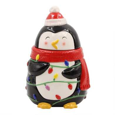 Holiday Penguin Ceramic Cookie Jar