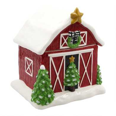 Rustic Holiday Barn Ceramic Cookie Jar