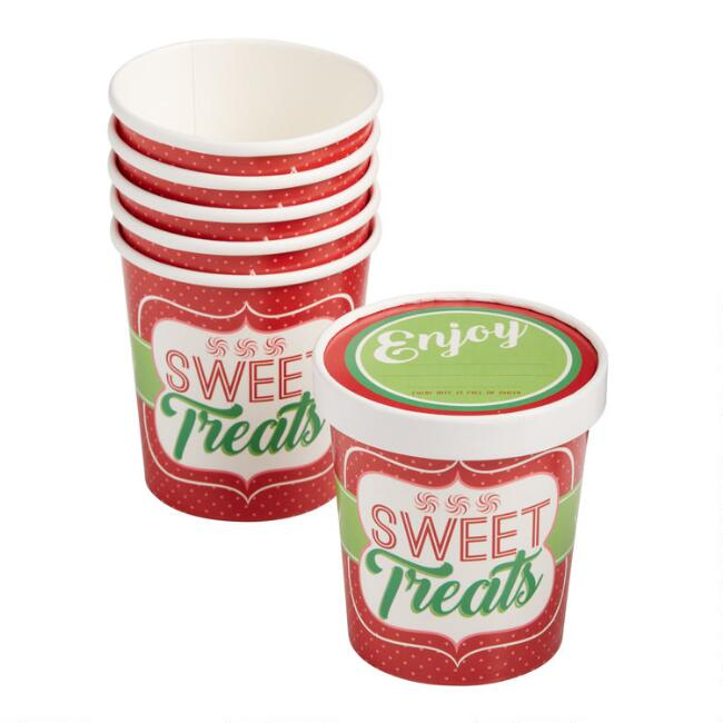 16 Oz. Holiday Paper Take Away Cups with Lids 6 Pack