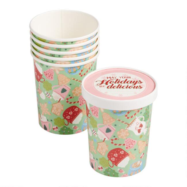 32 Oz. Holiday Paper Take Away Cups with Lids 6 Pack