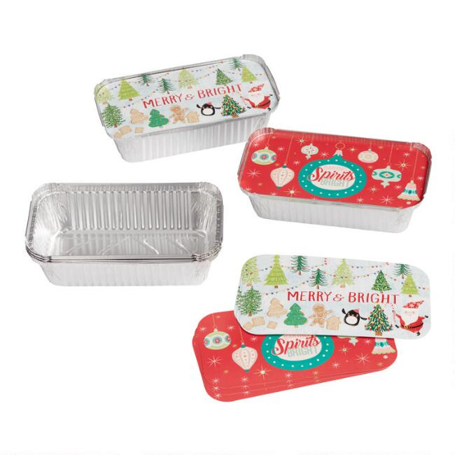 4 Pack Holiday Bake Away Loaf Pans with Lids Set of 2
