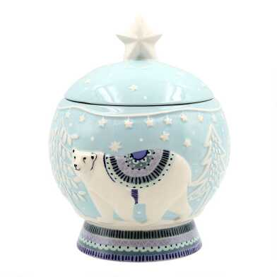 Blue Polar Bear Embossed Ceramic Cookie Jar