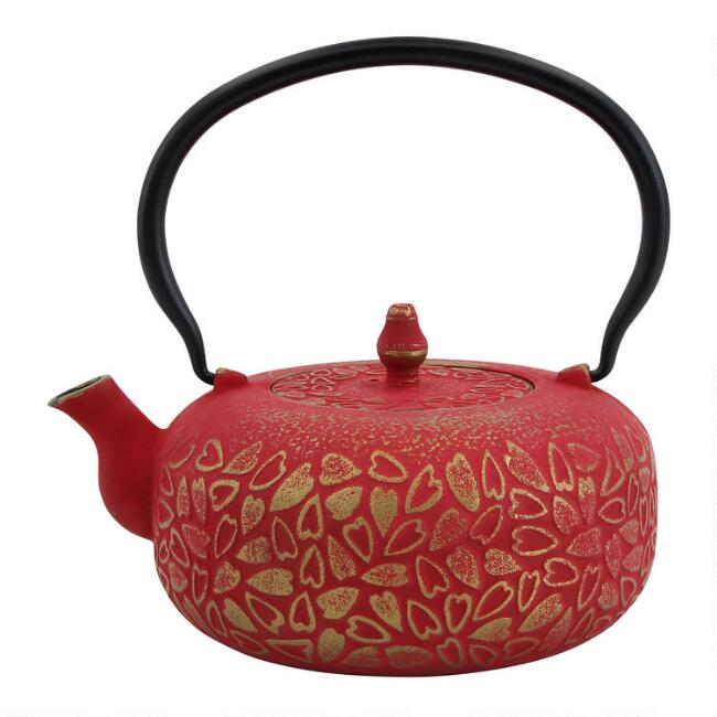 Red and Gold Cherry Blossom Embossed Cast Iron Teapot