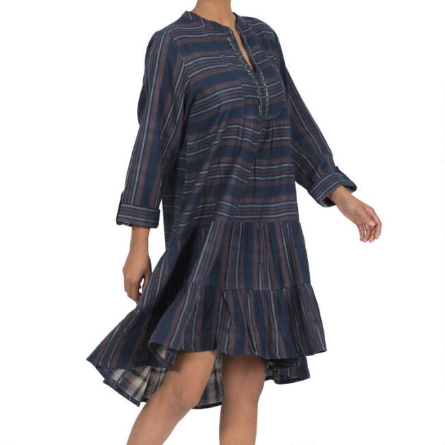 Blue, Rust And Ivory Stripe Lara Dress