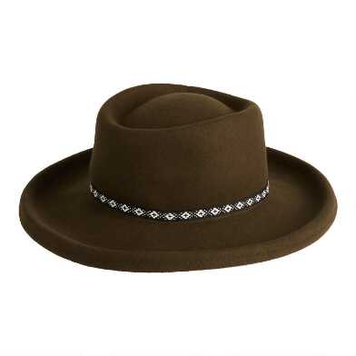 Olive Wool Molded Flat Top Hat With Braided Trim