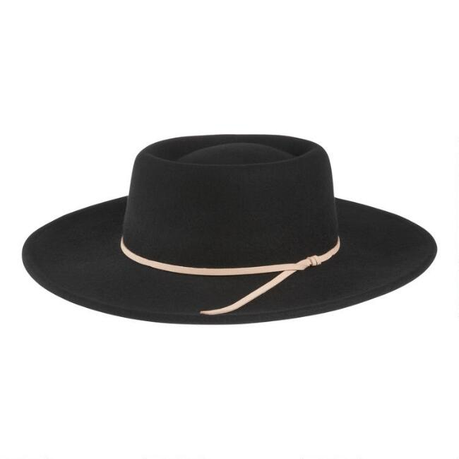 Black Wool Flat Top Hat With Bow Trim