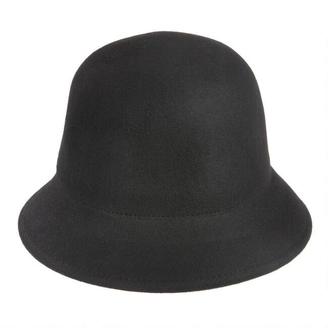 Black Wool Cloche Hat