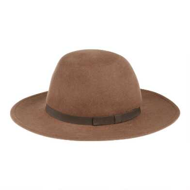 Tan Wool Round Top Hat With Bow Trim