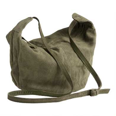 Olive Suede Hobo Crossbody Bag
