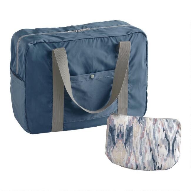 Blue And Maroon Abstract Foldable Duffel Bag With Pouch