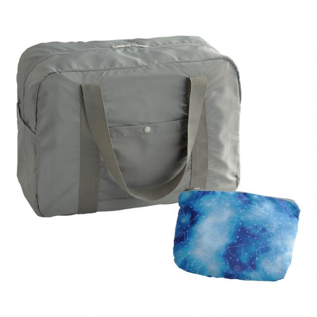 Gray And Blue Starry Sky Foldable Duffel Bag With Pouch