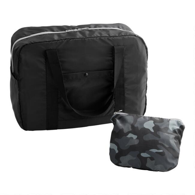 Black Camouflage Foldable Duffel Bag With Pouch