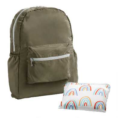 Green Rainbow Foldable Backpack With Pouch