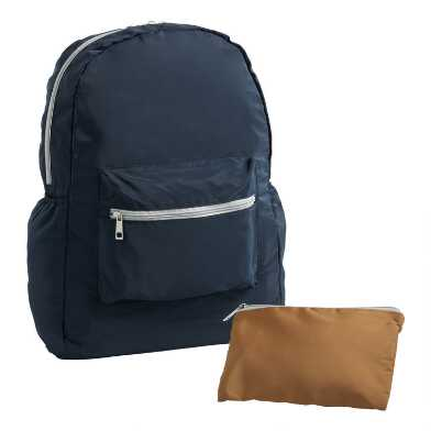 Navy And Ginger Foldable Backpack With Pouch