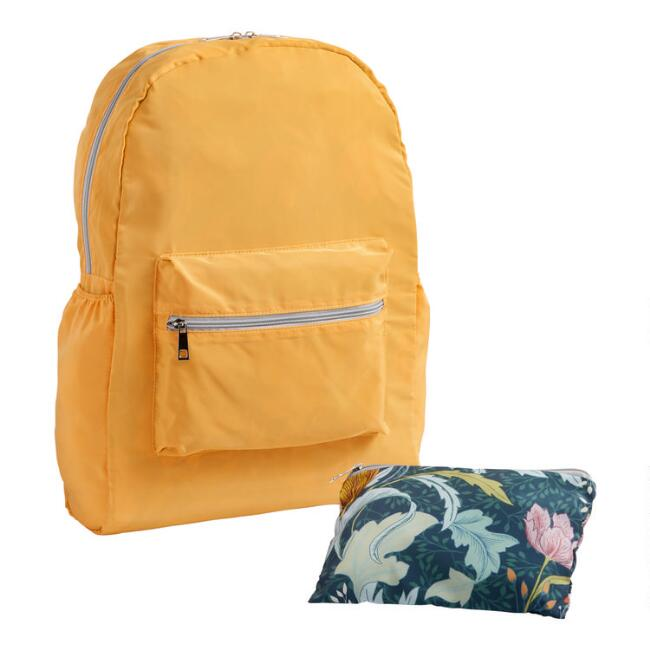 Golden Yellow Floral Foldable Backpack With Pouch