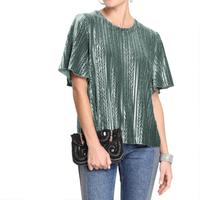 Teal Velvet Pleated Stella Top