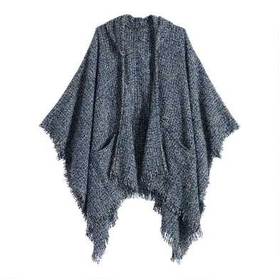 Blue Textured Hooded Wrap With Pockets