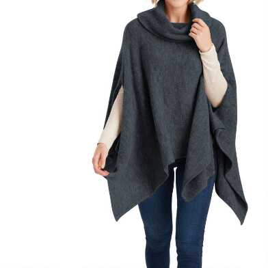 Navy And Gray Marled Turtleneck Sweater Poncho