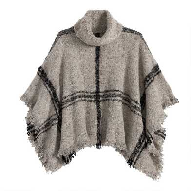 Light Tan And Black Windowpane Turtleneck Boucle Poncho