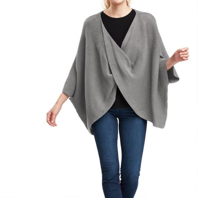 Gray Knit Cross Front Poncho Sweater