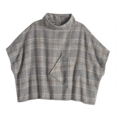 Gray Funnel Neck Cecil Poncho With Pocket