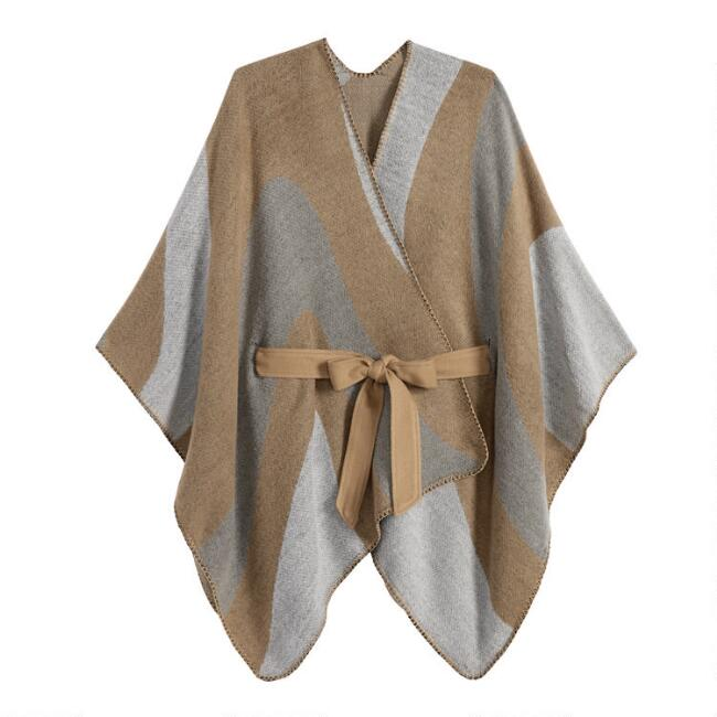 Gray And Tan Colorblock Blanket Wrap With Tie Belt