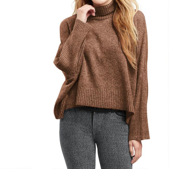 Brown Ribbed Knit Funnel Neck Sweater