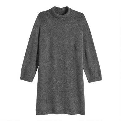 Gray Ribbed Knit Funnel Neck Sweater Dress
