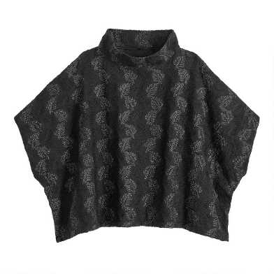 Black Funnel Neck Cecil Poncho